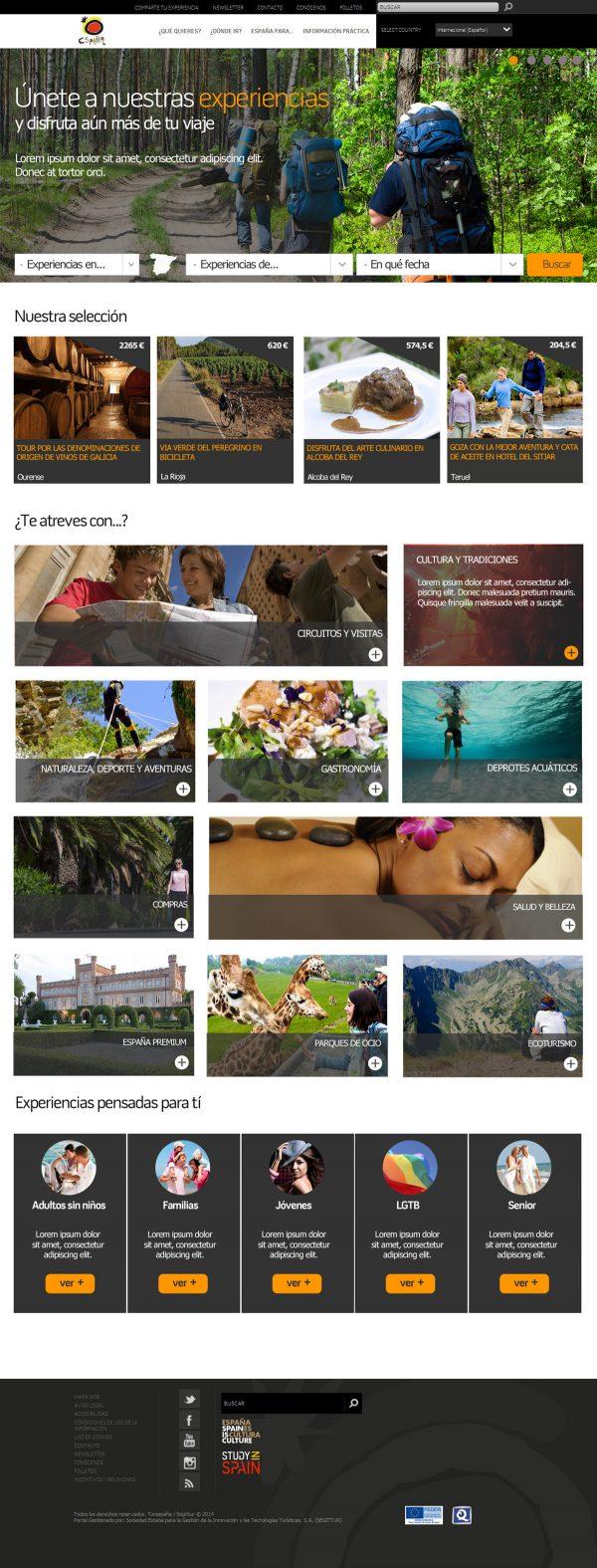 Landing page completa, diseño para el portal de  turismo de España
