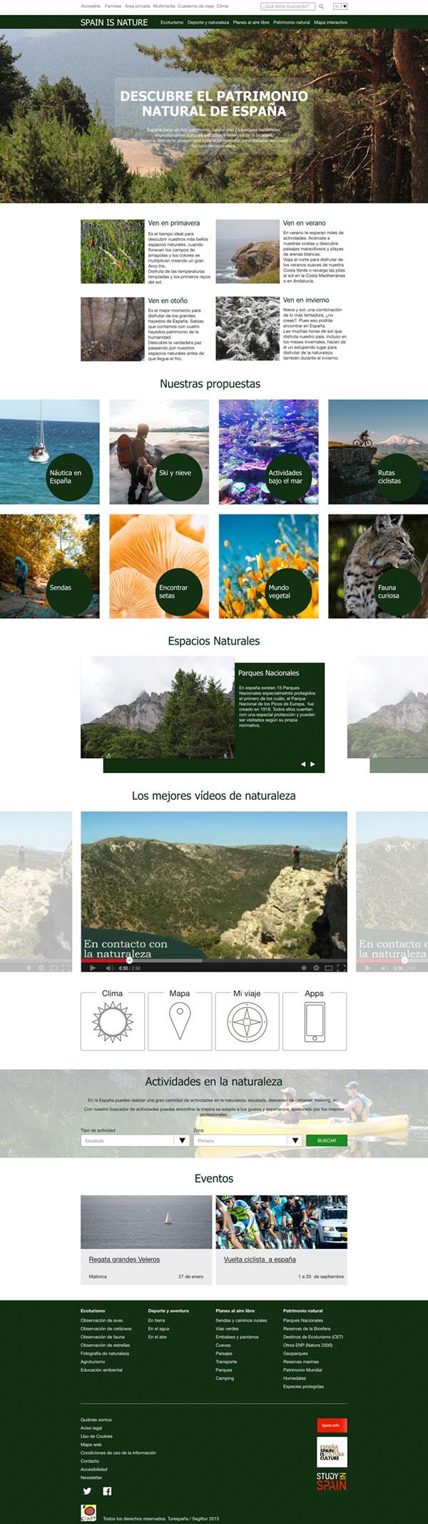 Página web de turismo de naturaleza en España