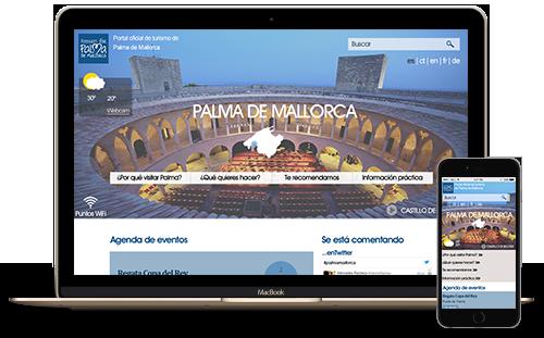 Home page de la página web de turismo de Palma