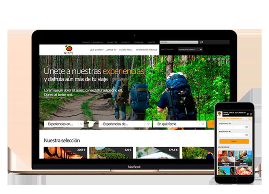 Landing page de experiencias del portal de turismo de España