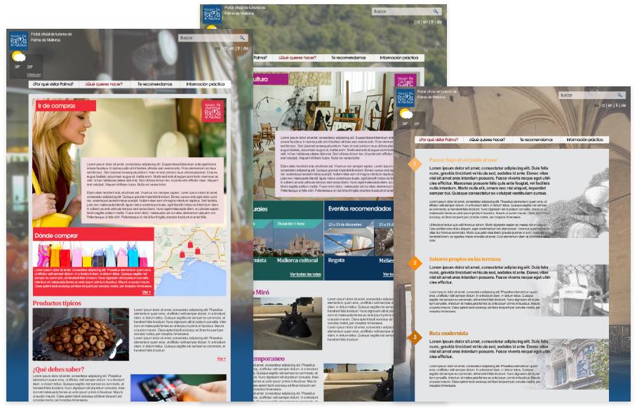 Distintas secciones de la página web de turismo de Palma