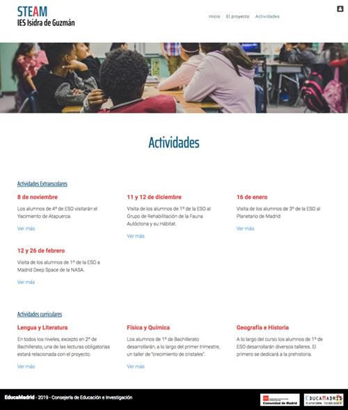 Página web de Actividades del proyecto educativo STEAM