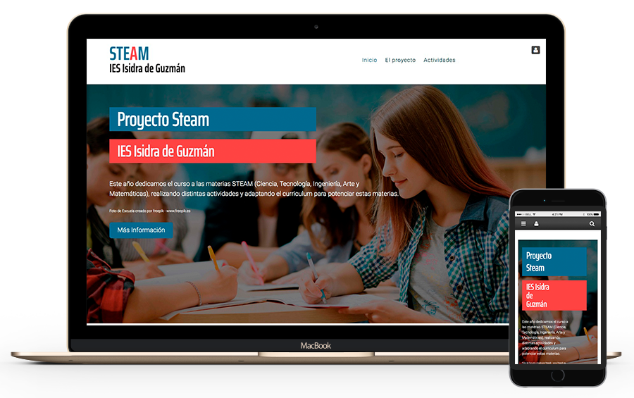 Diseño web para el proyecto educativo STEAM