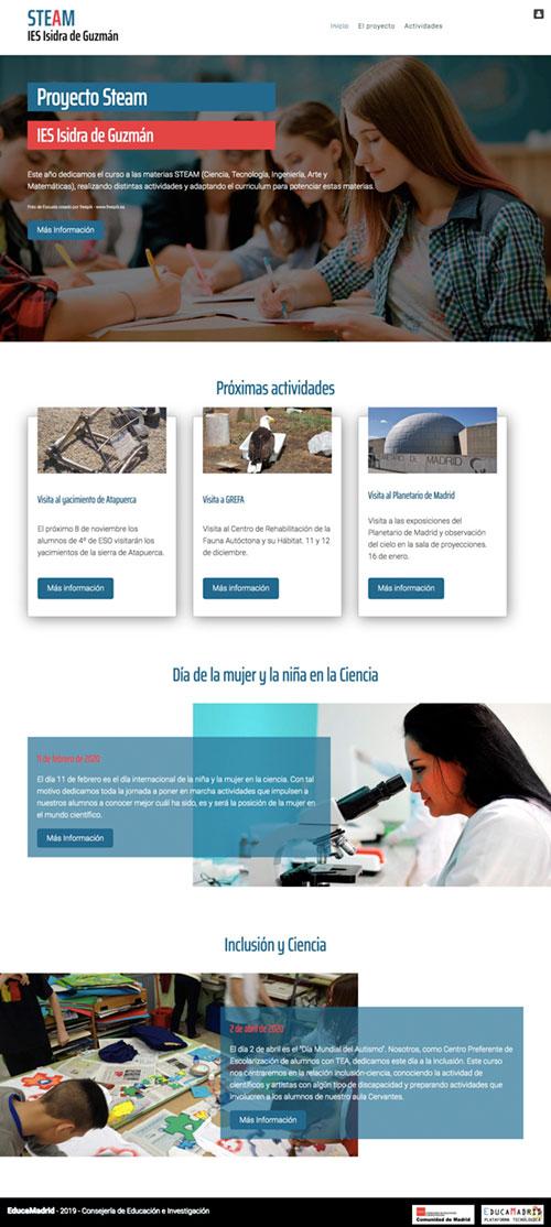 Página principal de la web del proyecto educativo  STEAM