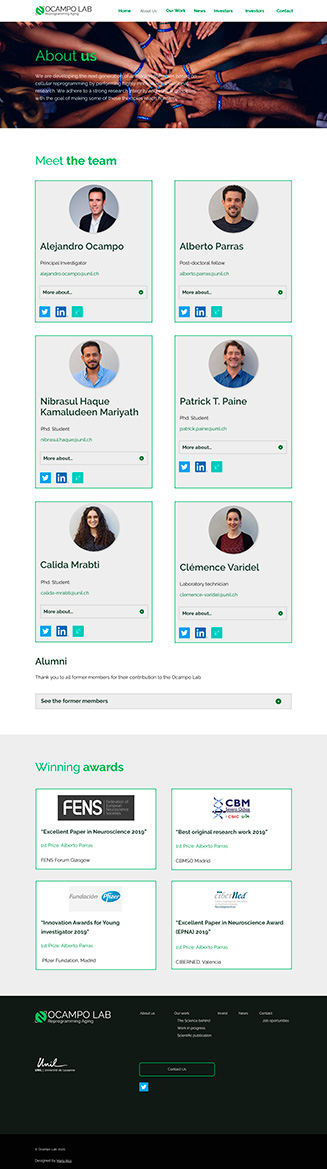 Diseño about us Ocampo Lab, website para un laboratorio científico