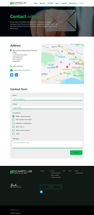 """Diseño """"Contact"""" Ocampo Lab, website para un laboratorio científico"""