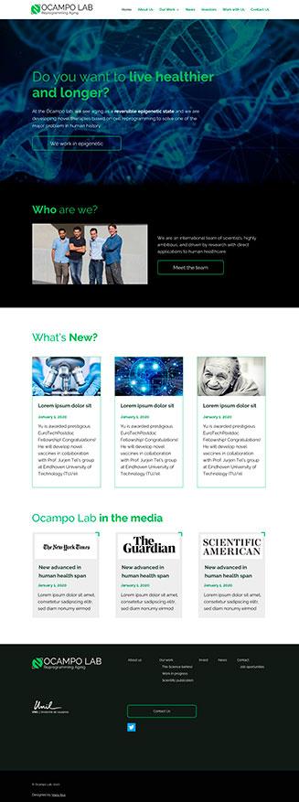 Home Ocampo Lab, website para un laboratorio científico