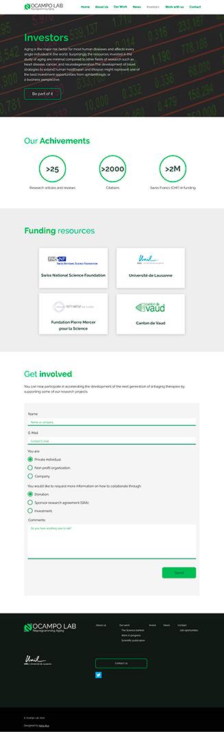 """Diseño """"Investors"""" Ocampo Lab, website para un laboratorio científico"""