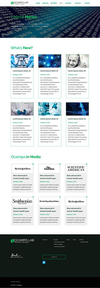 """Diseño """"News"""" Ocampo Lab, website para un laboratorio científico"""