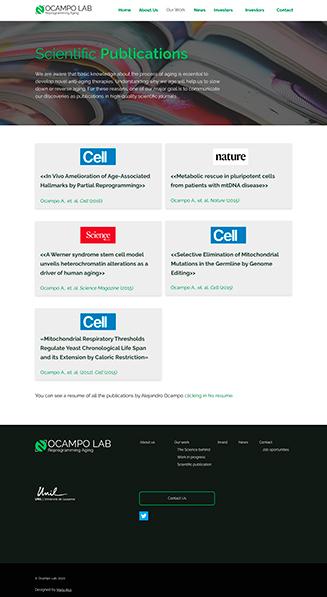 """""""Scientific Publications"""" Ocampo Lab, website para un laboratorio científico"""