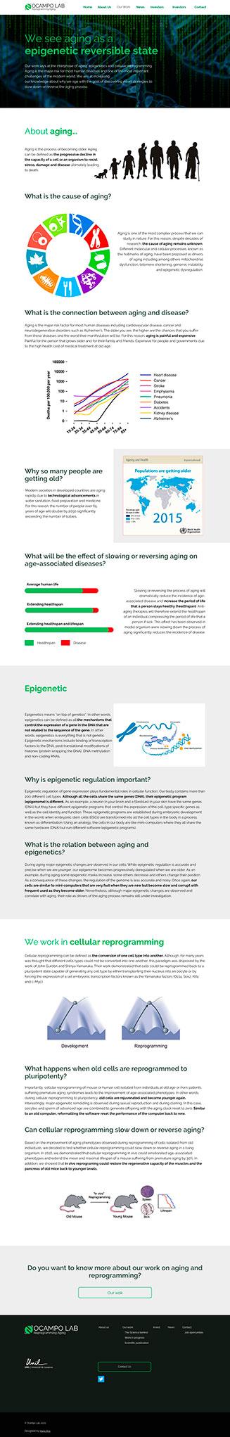 """Diseño """"The Science Behind"""" Ocampo Lab, website para un laboratorio científico"""