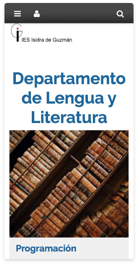 Versión móvil website centro educativo. Departamento de Lengua y Literatura