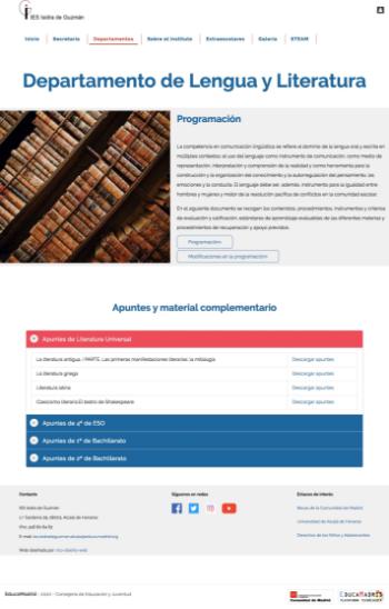 Página departamento de lengua y literatura - website centro educativo