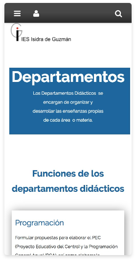 Versión móvil website centro educativo. Departamentos.