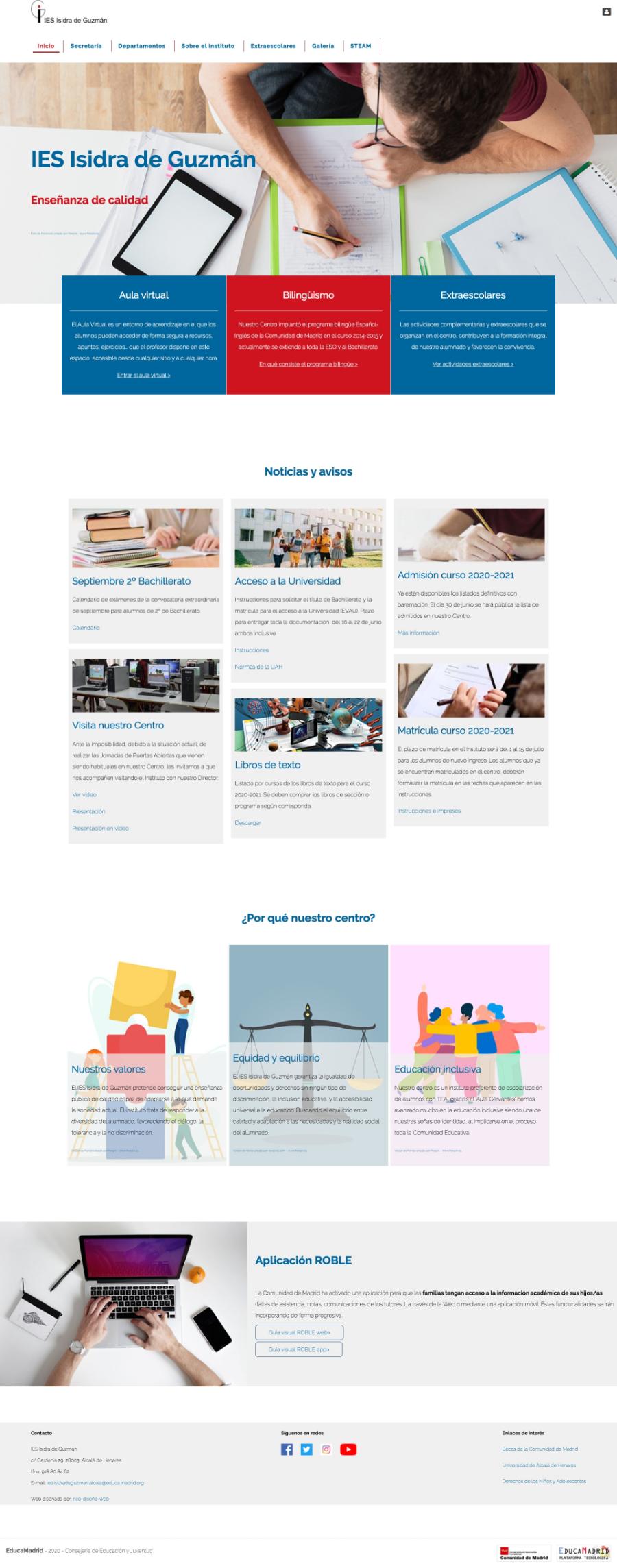 Home page IES Isidra de Guzman - diseño web centro educativo