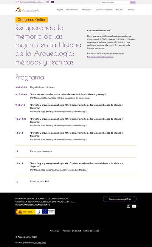 Diseño página programa de un congreso