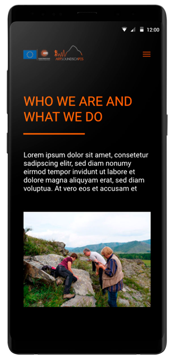 About Us responsive Artsoundscapes.  Diseño página web arqueología