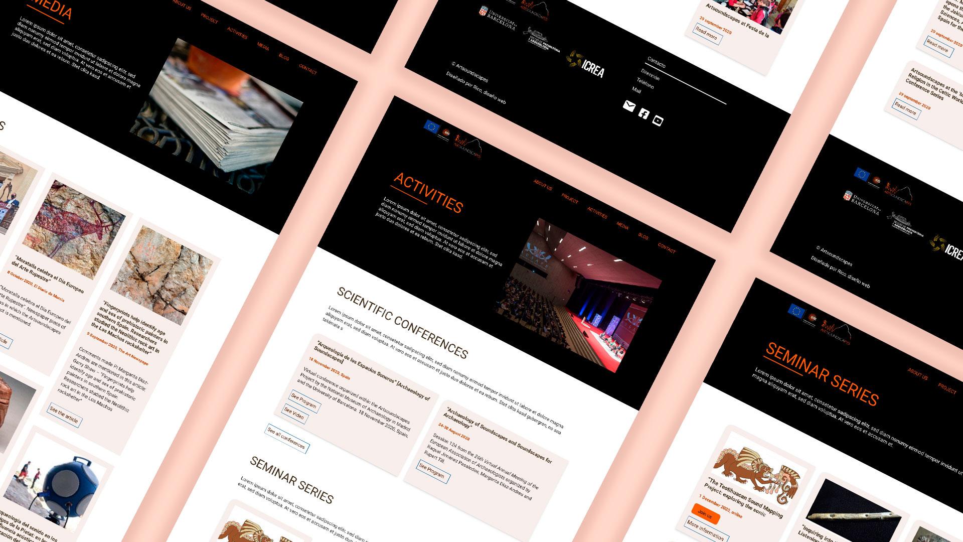 Pantallas Artsoundscapes.  Diseño página web arqueología