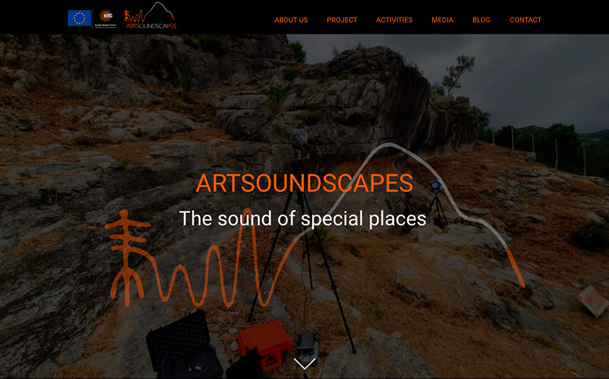 Página principal Artsoundscapes. Diseño página web arqueología