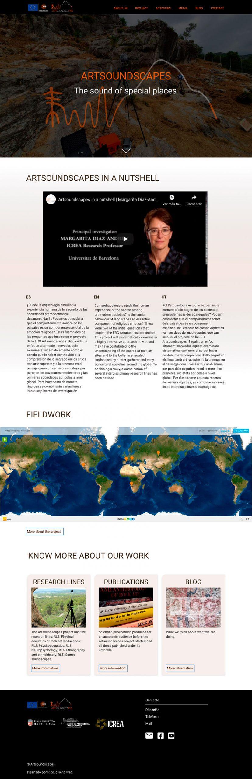 Home Artsoundscapes.  Diseño página web arqueología