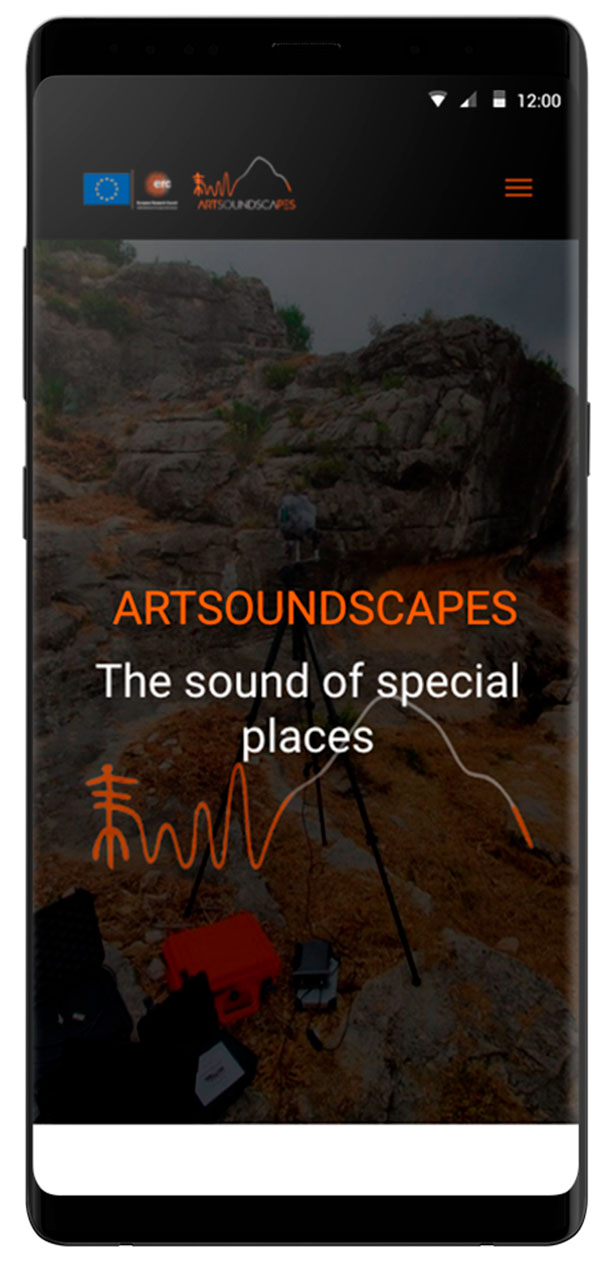 Home responsive Artsoundscapes.  Diseño página web arqueología