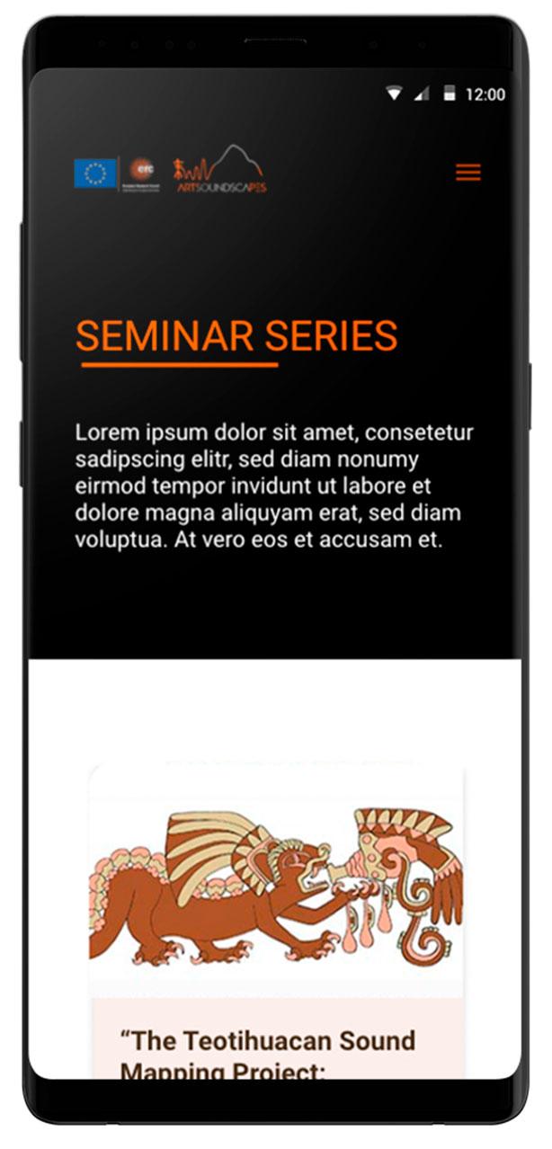 Seminar series responsive Artsoundscapes.  Diseño página web arqueología
