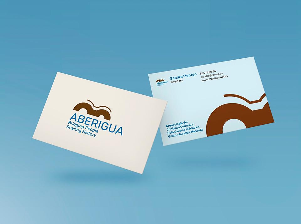 Logo Aberigua, aplicación en tarjetas de visita